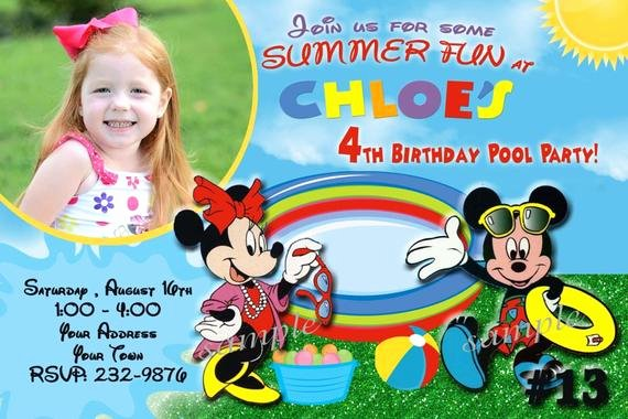 Mickey Mouse Pool Party Invitations Awesome Mickey Mouse Invitation Pool Party by Letspartyshoppe