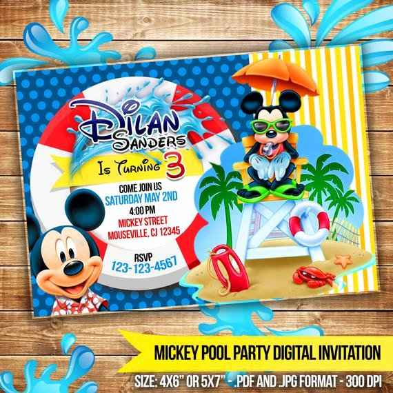Mickey Mouse Pool Party Invitations Awesome Mickey Mouse Pool Party Digital Invitation Beach by Cocoaparty