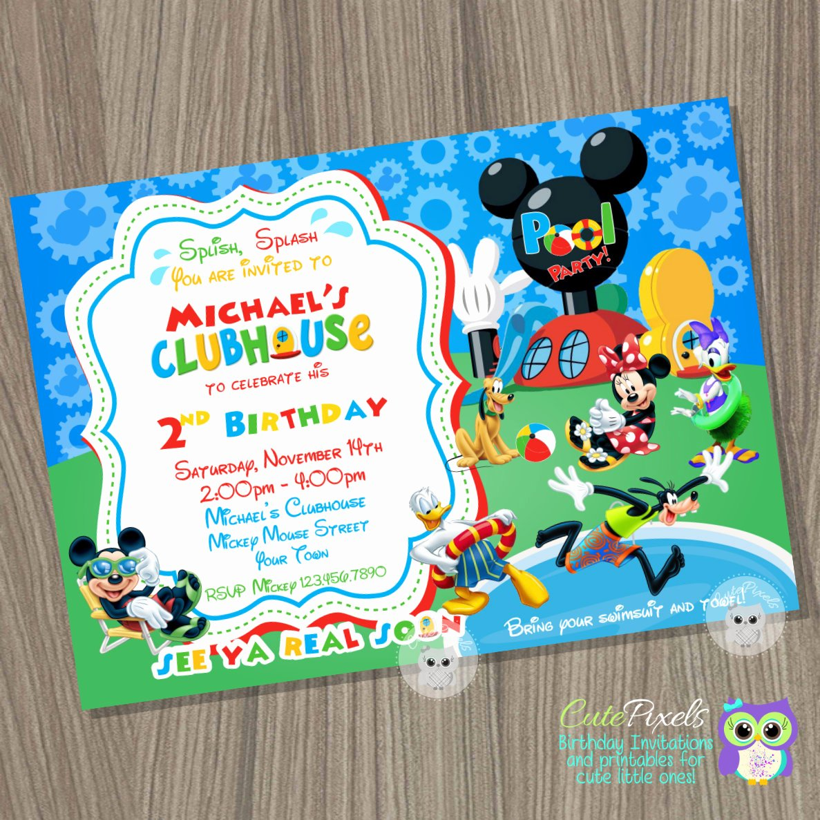 Mickey Mouse Pool Party Invitations Beautiful Mickey Mouse Clubhouse Invitation Summer Invitation Mickey