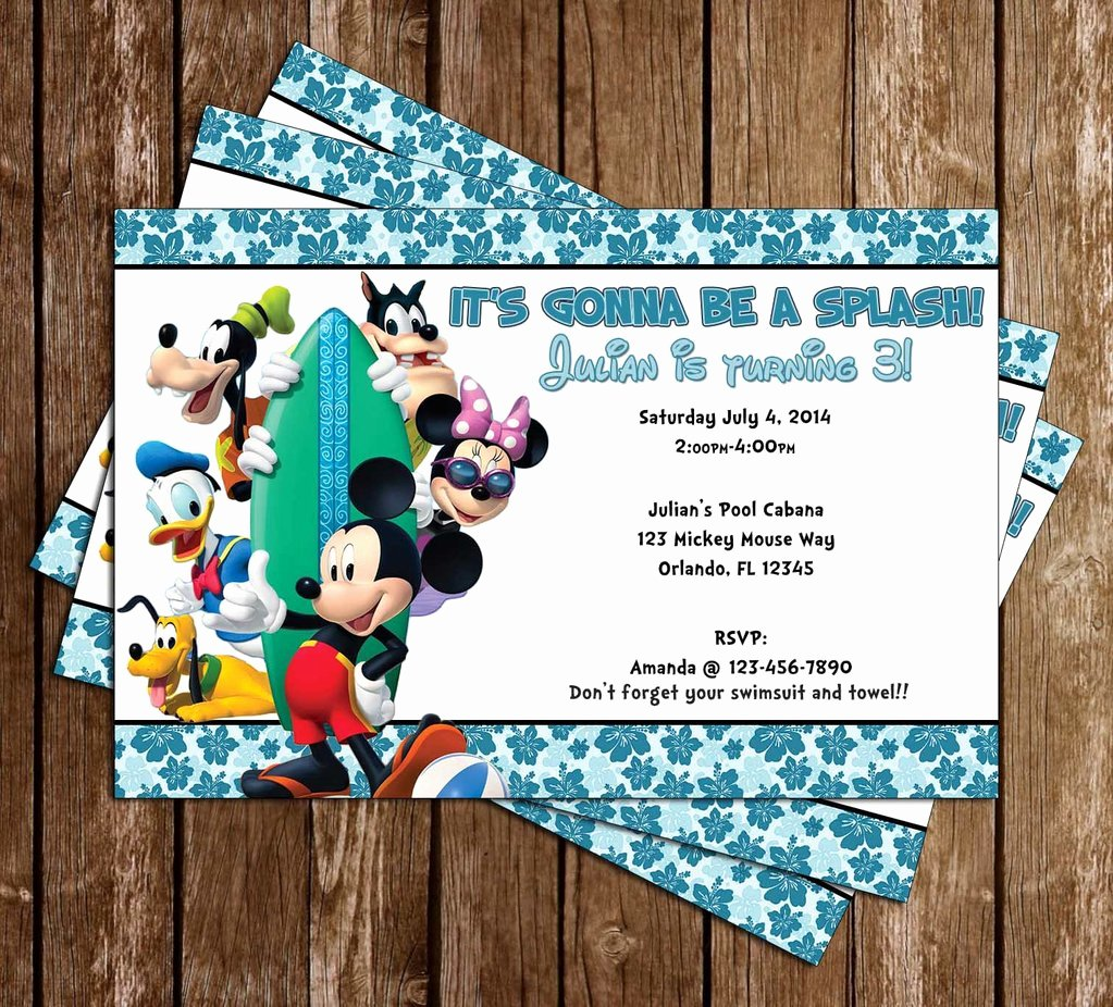 Mickey Mouse Pool Party Invitations Beautiful Novel Concept Designs Mickey Mouse Pool Party Invitation