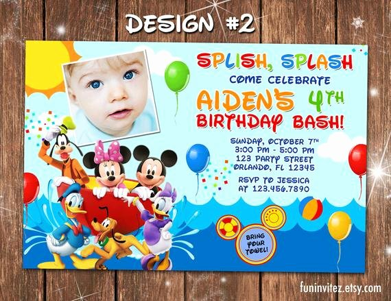 Mickey Mouse Pool Party Invitations Best Of Mickey Mouse Clubhouse Swim Beach Birthday Party