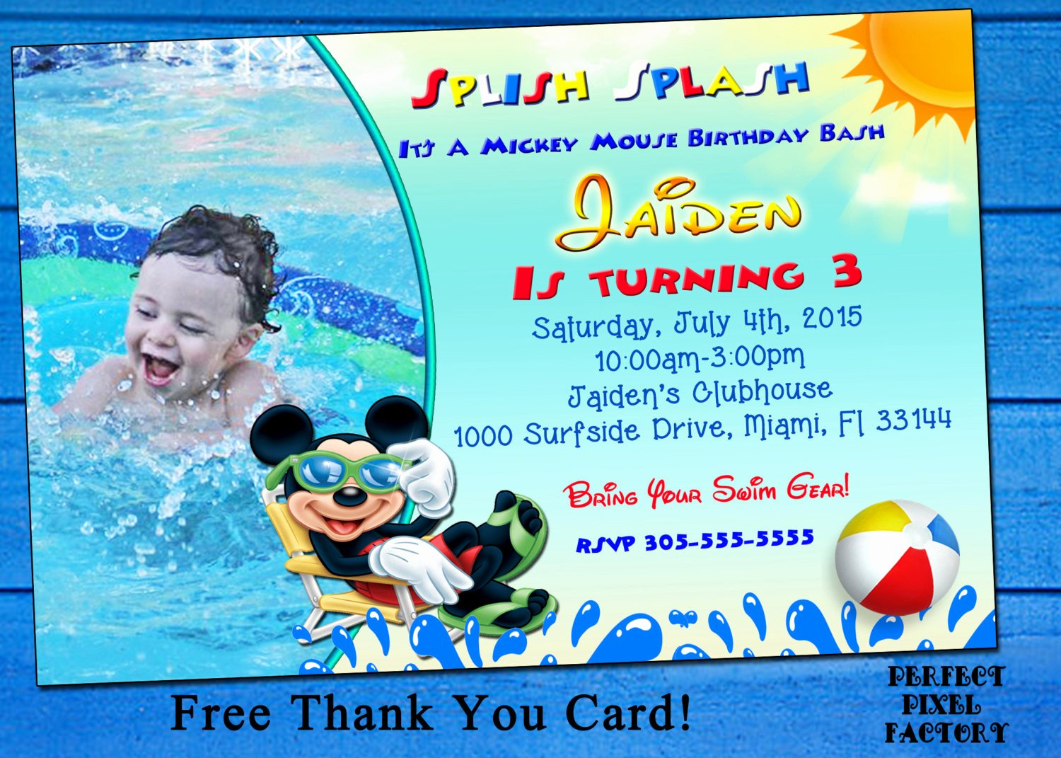 Mickey Mouse Pool Party Invitations Best Of Mickey Mouse Pool Party Birthday Invitation Clubhousemickey