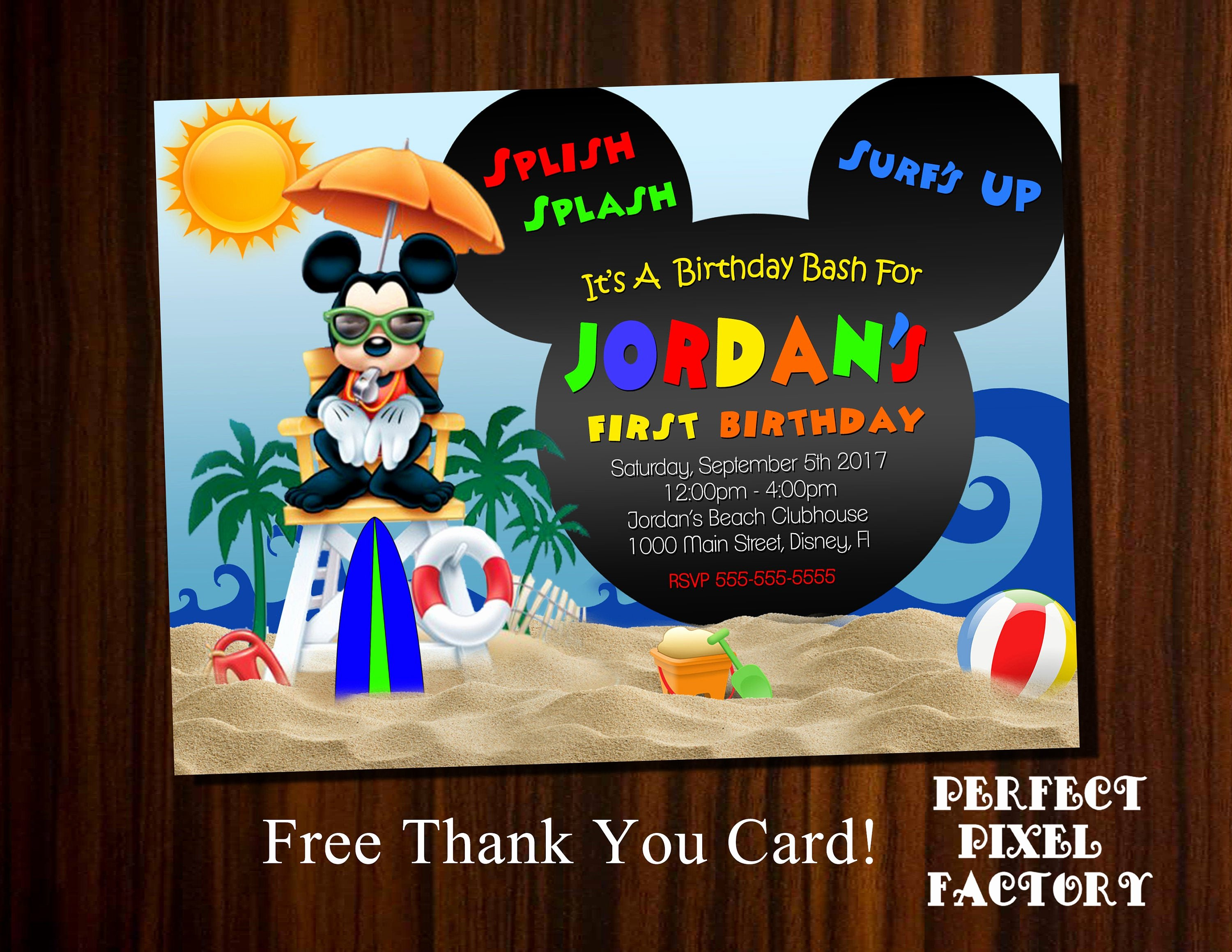 Mickey Mouse Pool Party Invitations Best Of Mickey Mouse Pool Party Birthday Invitation Mickey Beach