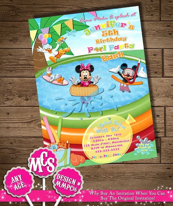 Mickey Mouse Pool Party Invitations Best Of Minnie Mouse Invitation Pool Party Invitation Beach