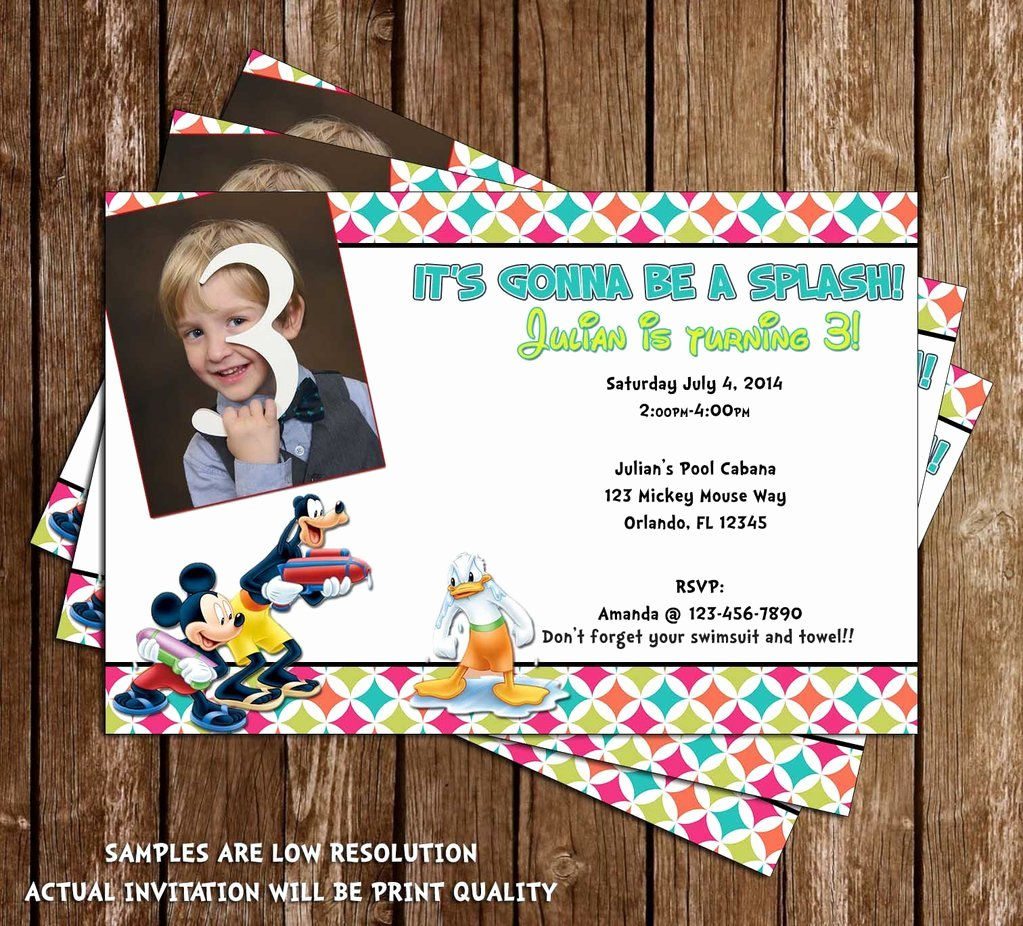 Mickey Mouse Pool Party Invitations Best Of Novel Concept Designs Disney Mickey Mouse Pool Party