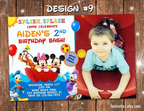 Mickey Mouse Pool Party Invitations Elegant Mickey Mouse Clubhouse Pool Birthday Party