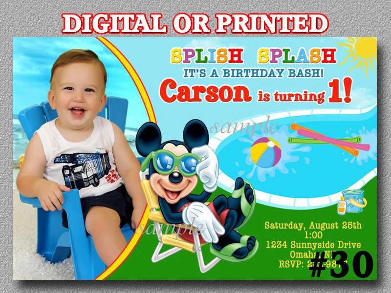 Mickey Mouse Pool Party Invitations Elegant Mickey Mouse Pool Party Invitations You Print Digital File or