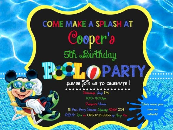Mickey Mouse Pool Party Invitations Fresh Pool Party Invitation Mickey Mouse by Millyrosecreations