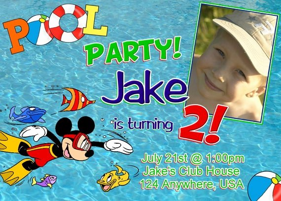 Mickey Mouse Pool Party Invitations Inspirational Items Similar to Mickey Mouse Pool Party Birthday