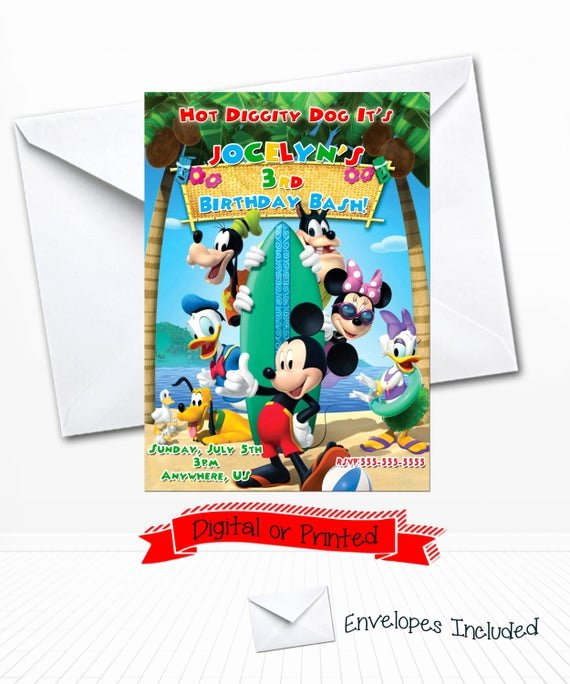 Mickey Mouse Pool Party Invitations Lovely Disney Mickey Mouse Pool Party Birthday Invitations by