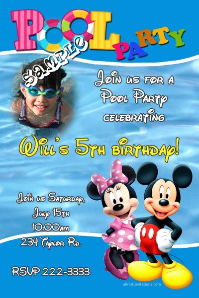 Mickey Mouse Pool Party Invitations Lovely Mickey Mouse and Minnie Mouse Pool Party Birthday Invitations