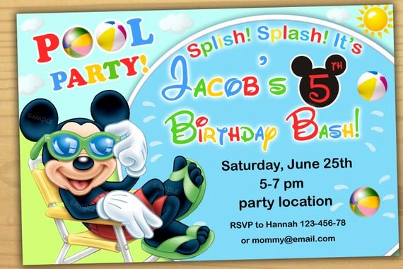 Mickey Mouse Pool Party Invitations Lovely Mickey Mouse Pool Party Invitation Mickey Mouse Swim Party