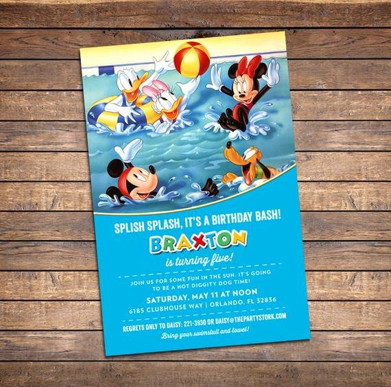 Mickey Mouse Pool Party Invitations Lovely Mickey Mouse Pool Party Invitation Printable Birthday Invite