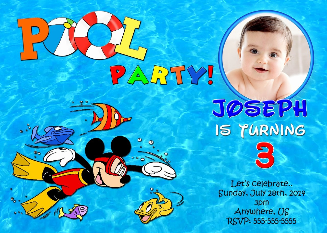Mickey Mouse Pool Party Invitations Lovely Pool Party Mickey Mouse Birthday Invitation