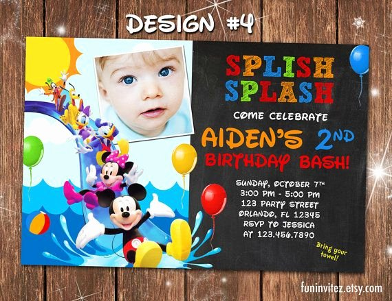 Mickey Mouse Pool Party Invitations Luxury Mickey Mouse Clubhouse Swim Beach Slide Birthday Party