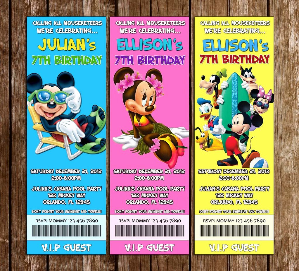 Mickey Mouse Pool Party Invitations Luxury Novel Concept Designs Disney Mickey Mouse Pool Party