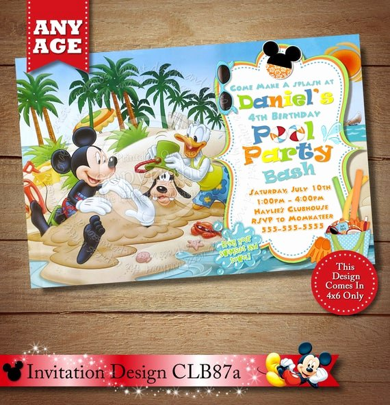 Mickey Mouse Pool Party Invitations New Items Similar to Mickey Mouse Beach Invitation Mickey