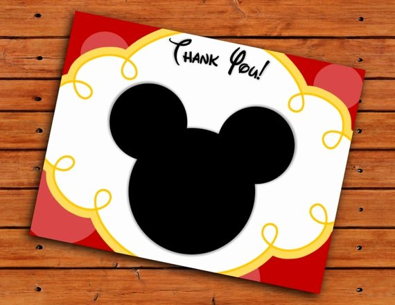 Mickey Mouse Thank You Notes Awesome Mickey Mouse Head Thank You Cards Red and Yellow Printable
