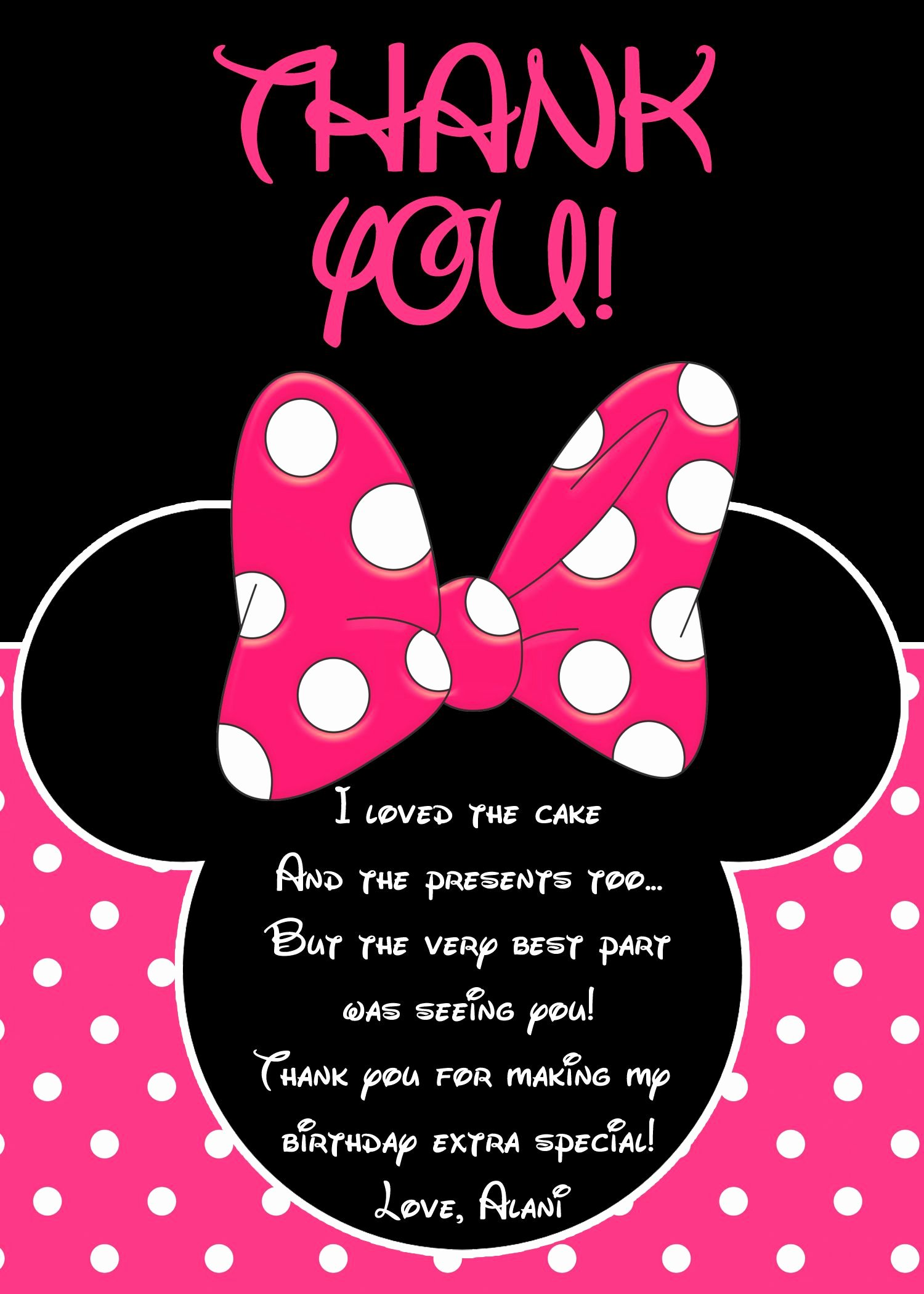 Mickey Mouse Thank You Notes Beautiful Minnie Mouse Thank You Card Minnie Mouse Party Minnie
