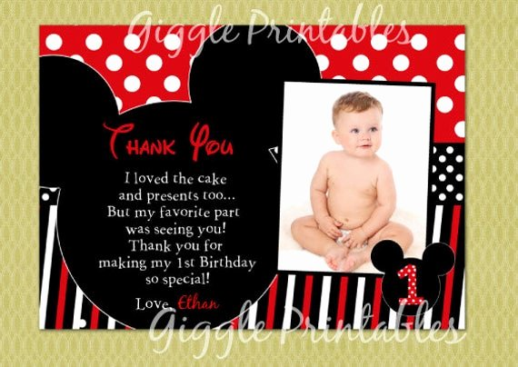 Mickey Mouse Thank You Notes Elegant Mickey Mouse Birthday Thank You Card