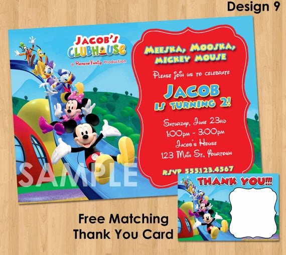 Mickey Mouse Thank You Notes Elegant Mickey Mouse Invitation & Thank You Note Printable Birthday