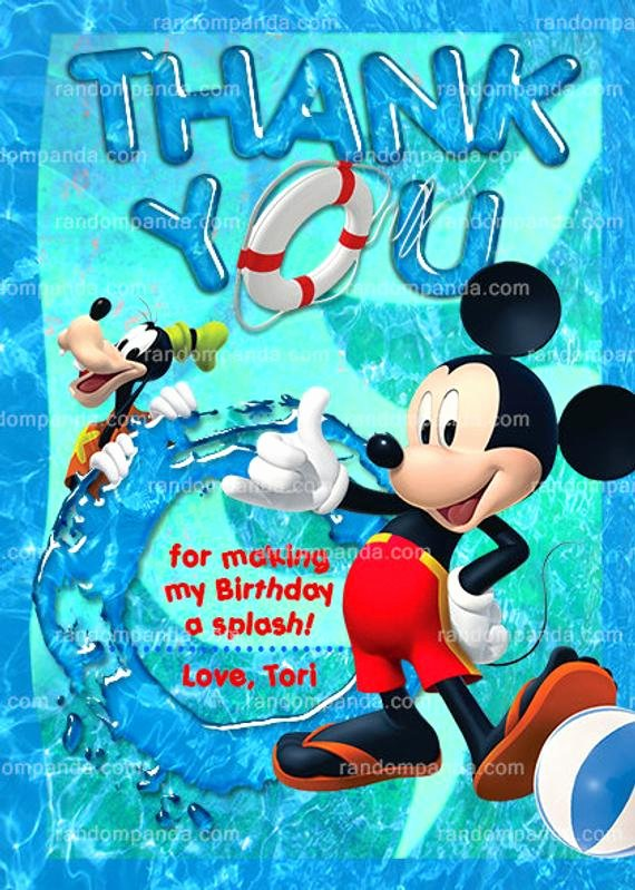 Mickey Mouse Thank You Notes Elegant Mickey Mouse Swim Thank You Card Mickie Pool Party Goofy