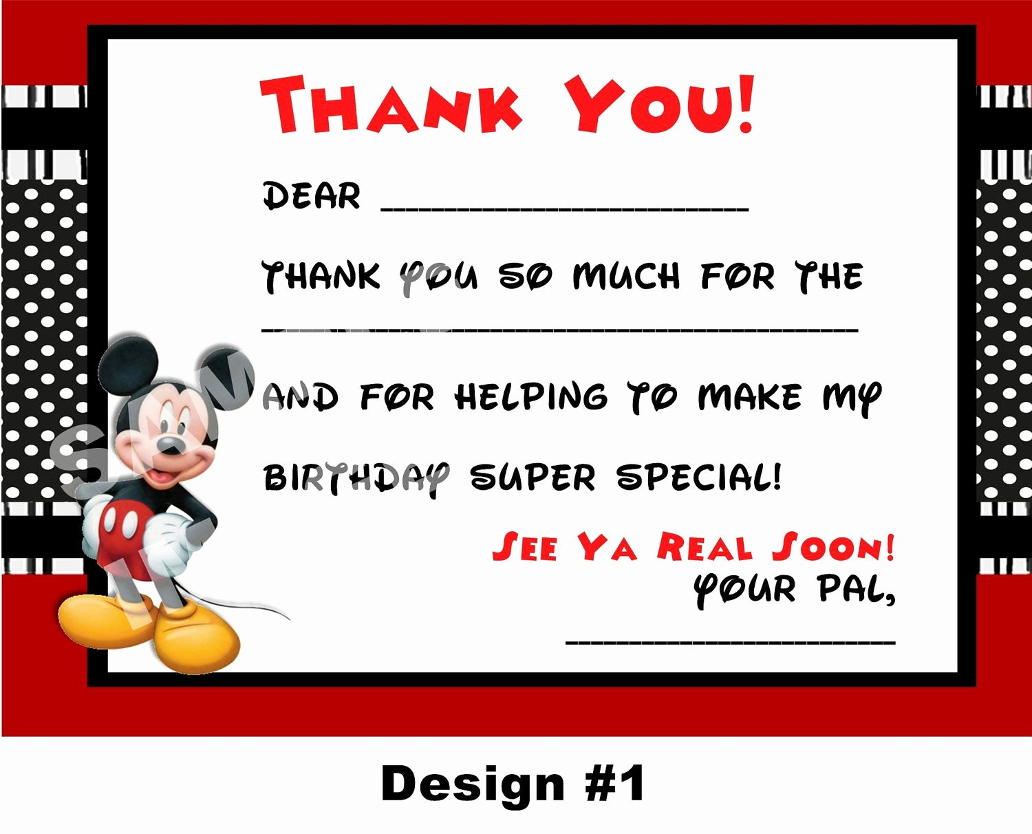 Mickey Mouse Thank You Notes Fresh Pin On for sophia
