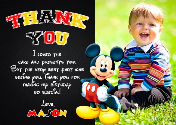Mickey Mouse Thank You Notes Lovely Free 23 Printable Thank You Card Templates In Illustrator