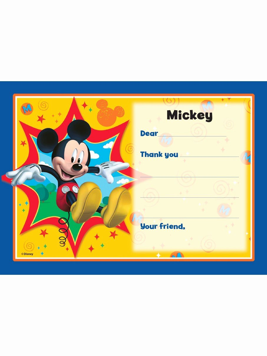 Mickey Mouse Thank You Notes Lovely Mickey Mouse Personalized Thank You Note Each Cheap
