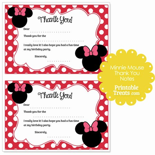Mickey Mouse Thank You Notes Luxury Printable Minnie Mouse Thank You Notes — Printable Treats