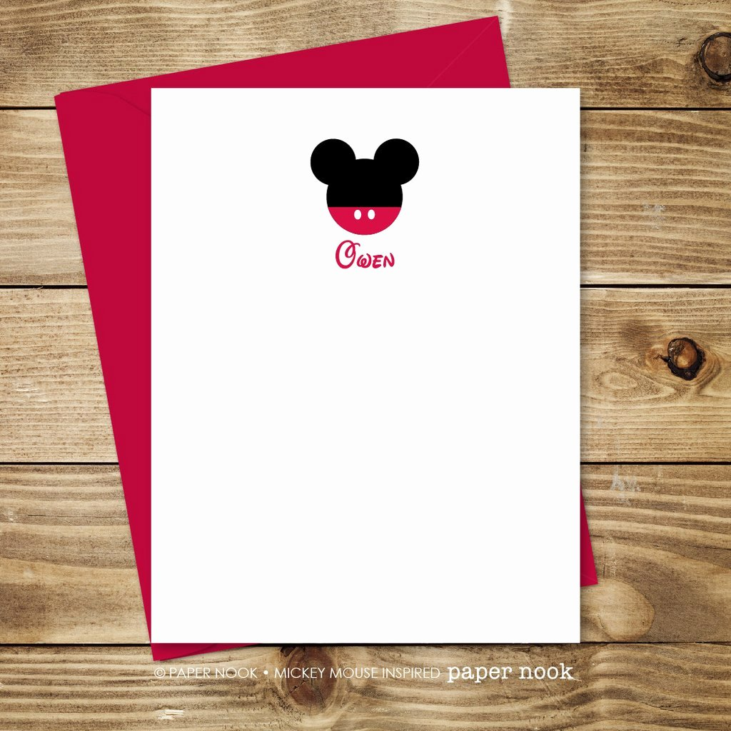 Mickey Mouse Thank You Notes New Personalized Mickey Mouse Note Cards by Paper Nook