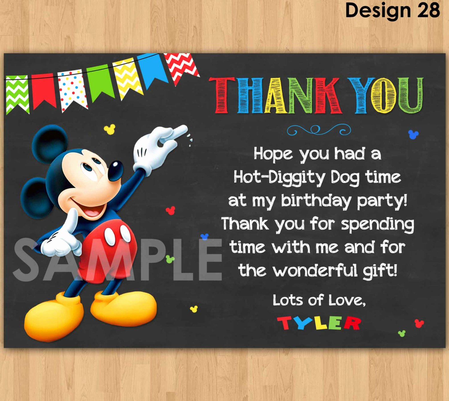 Mickey Mouse Thank You Notes Unique Mickey Mouse Thank You Card Mickey Thank You Card Note