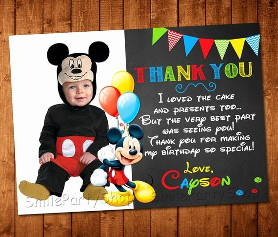 Mickey Mouse Thank You Notes Unique Mickey Mouse Thank You Card Personalized Digital by Smileparty