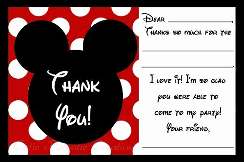Mickey Mouse Thank You Notes Unique Mickey Mouse Thank You Cards Printable Digital