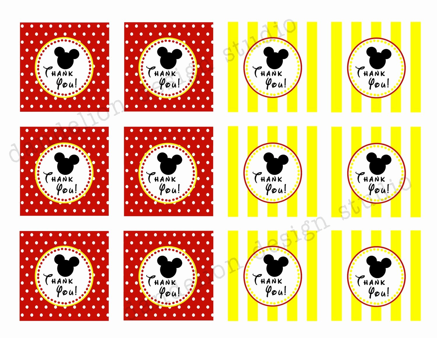 Mickey Mouse Thank You Tags Awesome Printable Favor Tags Mickey Mouse Party Collection