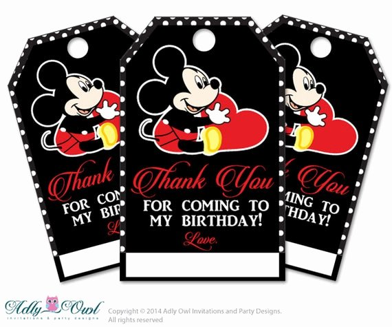 Mickey Mouse Thank You Tags Beautiful Items Similar to Mickey Mouse Personalized Thank You Tags
