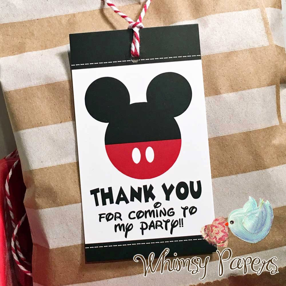 Mickey Mouse Thank You Tags Beautiful Mickey Mouse Thank You Tags Disney Party Favor Tags