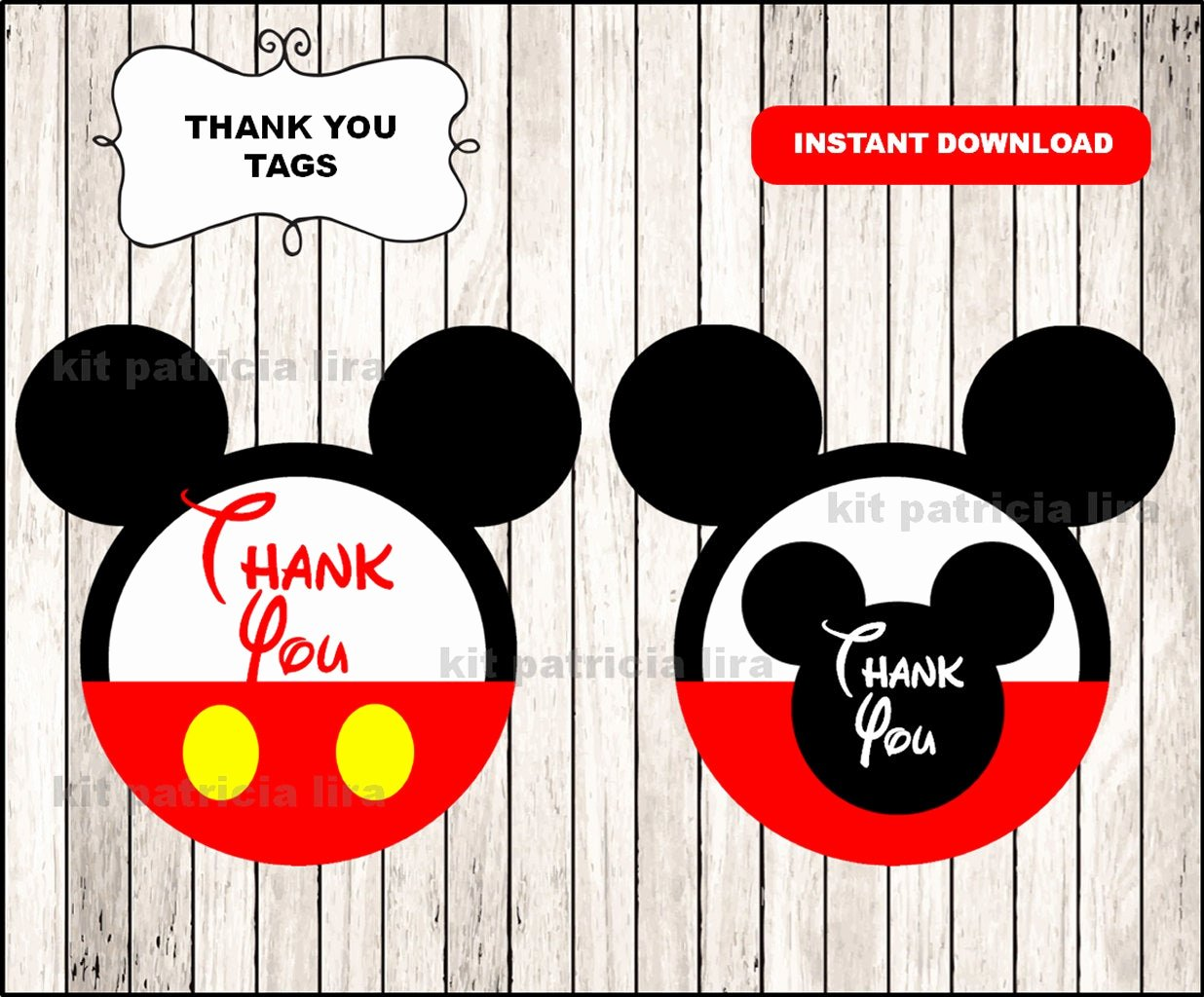 Mickey Mouse Thank You Tags Beautiful Mickey Mouse Thank You Tags Instant Mickey Mouse