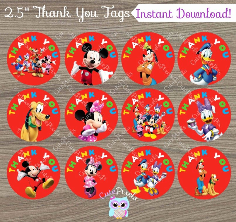 Mickey Mouse Thank You Tags Best Of Mickey Mouse Thank You Tags Mickey Mouse Favor Tags Mickey
