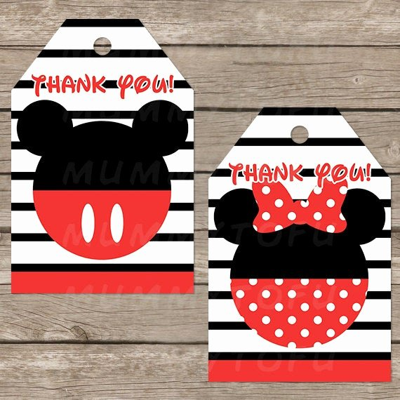 Mickey Mouse Thank You Tags Elegant Mickey Minnie Mouse Birthday Party Thank You Favor Tags Diy