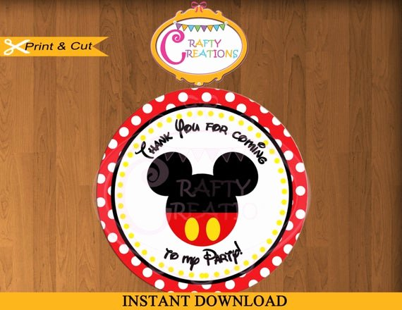 Mickey Mouse Thank You Tags Elegant Mickey Mouse Red Favor Tags Sticker Party Tags Thank You