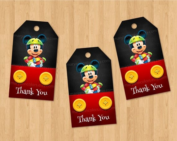 Mickey Mouse Thank You Tags Fresh Instant Download Thank You Tag Mickey Mouse Red and