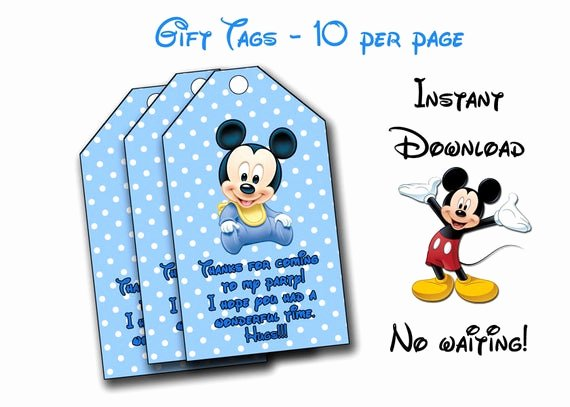 Mickey Mouse Thank You Tags Lovely Baby Mickey Thank You Tags Baby Mickey Mouse Thank You