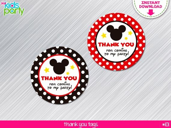 Mickey Mouse Thank You Tags Luxury Instant Download Mickey Mouse Inspired Thank You Tags