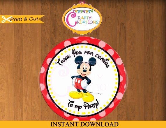 Mickey Mouse Thank You Tags Luxury Printable Mickey Mouse Stickers Favor Tag Party Tags Thank