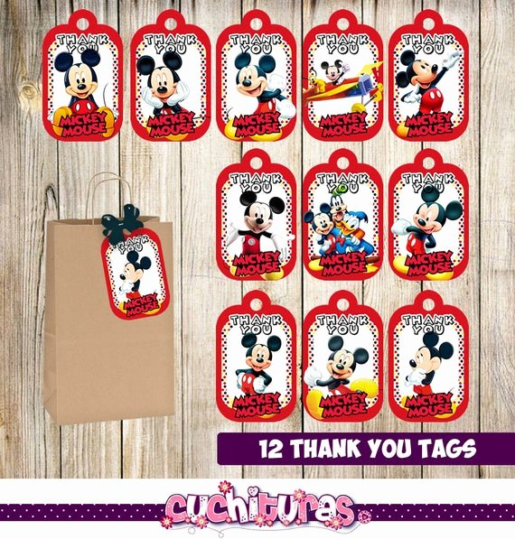 12 mickey mouse thank you tags instant