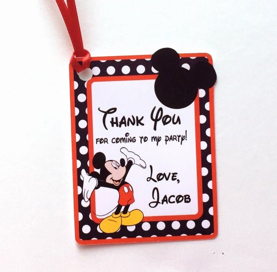 Mickey Mouse Thank You Tags New Mickey 12 Thank You Party Favor Tags Set Of 12 Mickey Mouse