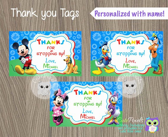 Mickey Mouse Thank You Tags New Mickey Mouse Thank You Tags Mickey Mouse Favor Tags Mickey