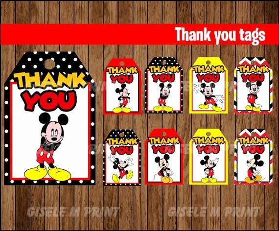 Mickey Mouse Thank You Tags New Mickey Mouse Thank You Tags Printable Mickey Mouse T Tags