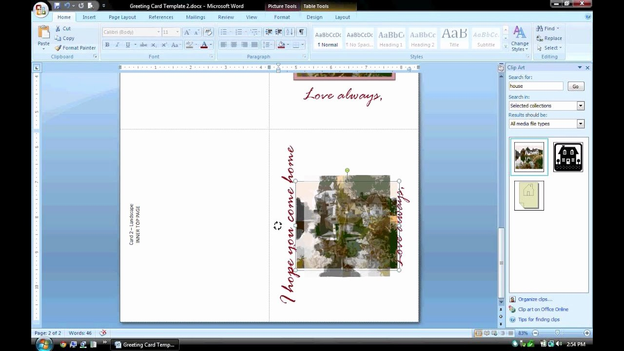 Microsoft Birthday Card Templates Lovely Ms Word Tutorial Part 2 Greeting Card Template